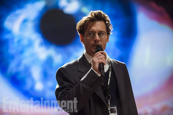 Johnny Depp in Transcendence. A 2014 film produced by Christopher Nolan that  initially showed on the 2012 Black list.